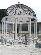 Hand Carved White Marble Gazebo with Iron Dome