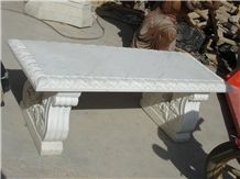 White Marble Bench & Table