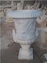 White Marble Hand Carved Flowerpot