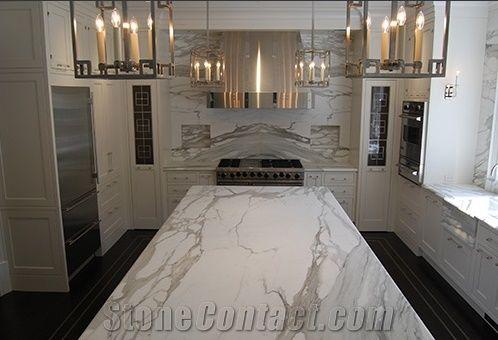Calacatta Gold Marble Kitchen Countertops Italian White