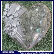 France Style Heart Headstone, Olive Green Headstone, Olive Green Granite Monument & Tombstone