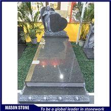 France Style Monument, Angel&Heart Tombstone, Diamond Jilin Green Granite Monument & Tombstone