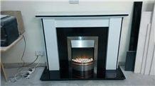 Custom Made Polar White Marble and Black Granite Fireplace