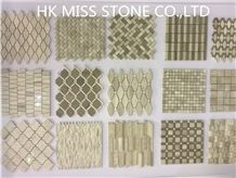 Wooden Marble Mosaic,China White/Grey Wood Marble Mosaic,Bath Room Decoration,Floor Covering,Wall Cladding
