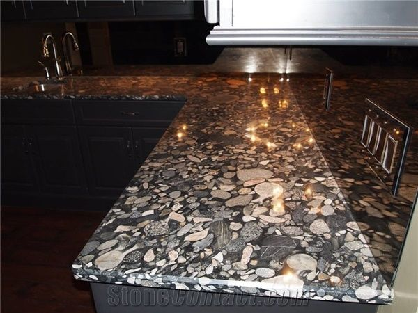 3cm Thick Polished Black Marinace Granite Bedrock Counters