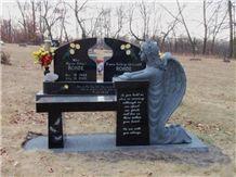 Black granite bench memorial