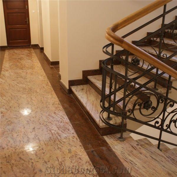 Ivory Brown Granite with Multicolor Red Granite Flooring ...