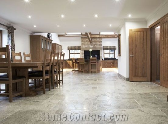 Montpellier Limestone Tumbled And Brushed Kitchen Floor Tiles