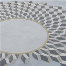 Nouvelle Grey Marble and Blue Savoy Marble Floor Pattern