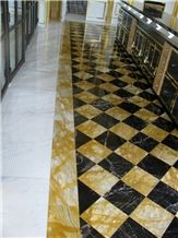 Giallo Siena Marble and Nero St Laurent Marble Inlay Floor Pattern