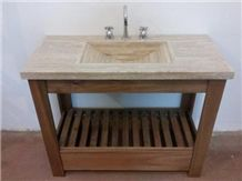 Eucalipto Travertine Vanity with Drawer