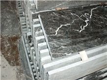 China Hang Grey High Glossy Polished Steps Stairs, Popular Grey Marble Steps Interior Risers