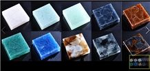 Multicolored Glass Stone Sample Tiles Machine Cutting Tiles for Hotel Ceiling,Crystal Glass Stone Faux Marble Sheet