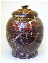Red Zebra Marble Ash Urn