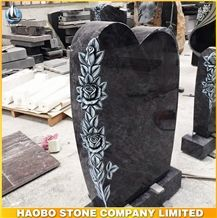 China Factory Direct Bahama Blue, Onion Blue Monuments Engraved Rose Flower, Western Style Headstone Cemetery, Personal Tombstone
