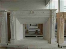 China Han White Carved Fireplace, Han White Marble Fireplace