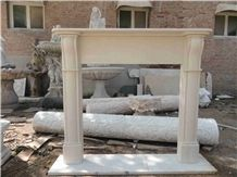 China Yellow Sandstone Carved Fireplace