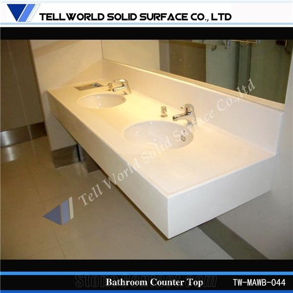 China Supply Solid Surface Bathroom Countertops with Built ...