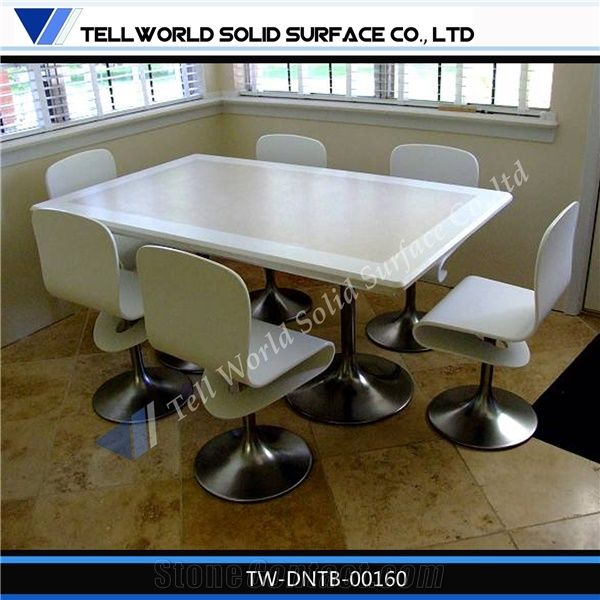 Composite Marble Dining Table Top Artificial Solid Surface Stone Furniture