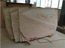 Scenery Sandstone Slab and Tile, China Yellow Sandstone