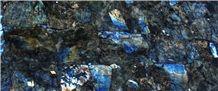 Semi-Precious Electric Blue and Peacock Blue Labradorite Slabs, Tiles, Basins, and Decor