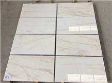 Nice Golden Thread Jade White Marble Tile