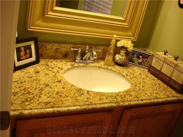 Miraculous New Venetian Gold Granite Bathroom Countertop Yellow Beutiful Home Inspiration Semekurdistantinfo