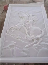 Pure White Marble Reliefs, Flower, Animal Reliefs