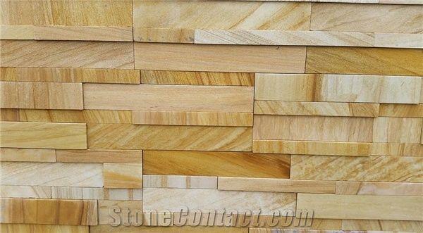 Teak Wood Sandstone Stack Wall Stone From Australia