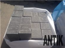 Paving Cubes Basalt, Machine Cut Cobbles, Ukrainian Basalt