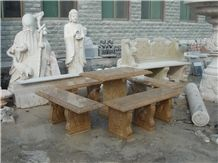 Brown Marble Hand Carved Marble Table & Bench