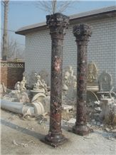 China Solid Brown Marble Column Pillar