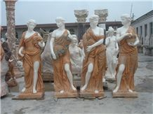 Hand Carved Multicolor Marble Statue Four Seasons