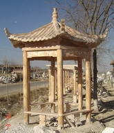 Hand Carved Pink Marble Chinese Backyard Gazebo