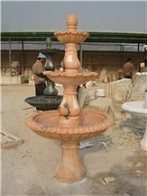 Hand Carved Pink Marble Fountain