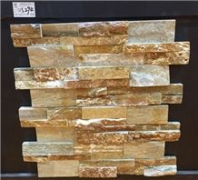 Ws-294 Brown, Yellow Rust Slate, Wall Cladding, Cultured Stone, Stacked Stone Veneer Wall Panel