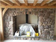 Masonry Fireplace Design with Highland Quartzite Boulders