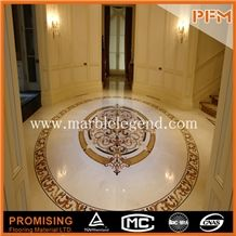 Ariston White Marble+Golden Year,Egyptian Yellow,Rosso Verona Good Quality Round Polished Waterject Marble Inlay for Lobby