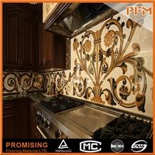 Cream Marfil ,Egyptian Sunny,Dark Emperador Elegant Waterjet Inlay Medallions//Patterns/Border/Customized/New Design/Best Quality/Wall Covering/Interior Decoration/