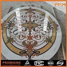 Good Style Multicolor Round Polished Marble Art Polished Water Ject Medallion