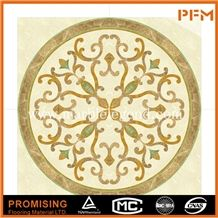 Light Emperador/Golden Year/Crema Marfil/Onyx Green Round Shape Beige Polished Customize Marble Inlay,Marble Medallion,Marble Patter for House