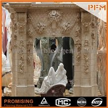 New Design European Customized Figure, Elegant Beige Marble Hand Carving Sculptured Fireplace