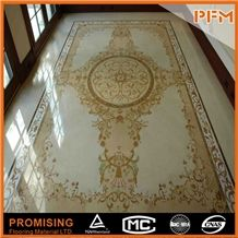 Popular Style among European Countries Customize Square Beige Large Flooring Water Ject Medallion