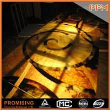Shinning Customize Size Backlight Honey Onyx Waterject Medallion for Wall & Floor