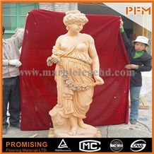 Yellow Marble Sculptured Statue /Western/European Customized Figure Human/Animal/ Hand Carving/For Outdoor/Garden