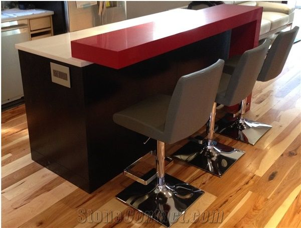 Red Shimmer Caesarstone Modern Kitchen Bar Top From