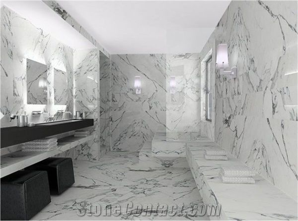 Arabescato Marble Bathroom Design From Kazakhstan