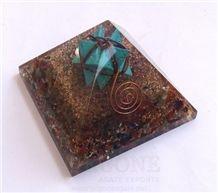 Chakra Stone Orgone Pyramid with Turquoise Markaba Orgonite-Orgone Energy Pyramid Healing Crystals