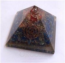 Lapis Lazuli Orgone Pyramid Orgonite Lapis Lazuli Pyramid (With Crystal Point) Orgone Healing Product
