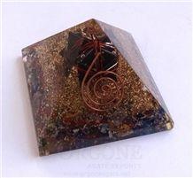 Mix Chakra Stone Orgone Pyramid with Black Toumaline Markaba Orgonite Chakra Stone Pyramid Copper Pyramid Meditation
